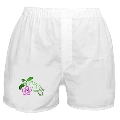 Sea Turtle w/ Hibiscus Boxer Shorts