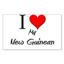I Love My New Guinean Rectangle Decal