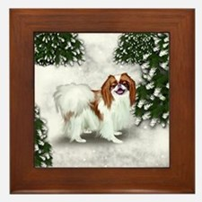 Red Japanese Chin Dog Snow Forest Framed Tile