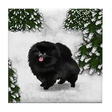 BLACK POMERANIAN DOG SNOW FOREST Tile Coaster