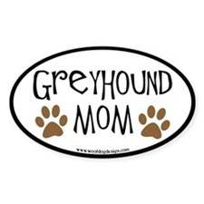Greyhound Mom Oval (black border) Oval Decal