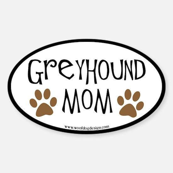 Greyhound Mom Oval (black border) Oval Decal