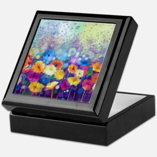 Floral Painting Keepsake Box