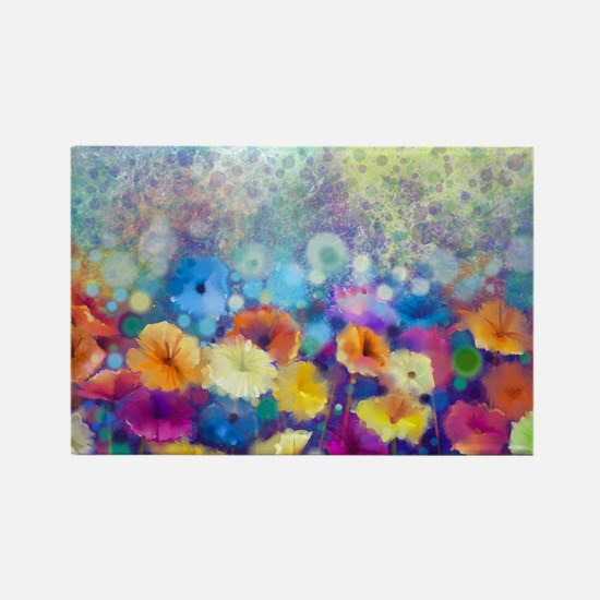 Floral Painting Rectangle Magnet