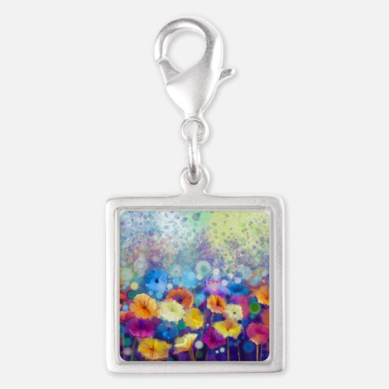 Floral Painting Silver Square Charm