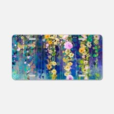 Floral Painting Aluminum License Plate