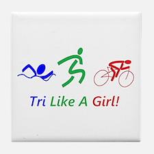 Unique Girls mountain biking girl Tile Coaster