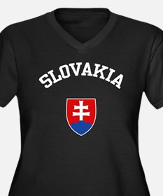 Slovakia Coat of Arms Women's Plus Size V-Neck Dar
