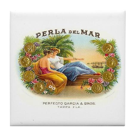 Perla del Mar Cigar Ad Tile Coaster