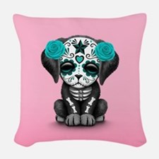 Cute Blue Day of the Dead Puppy Dog on Pink Woven