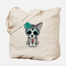Blue Day of the Dead Sugar Skull Wolf Cub Tote Bag