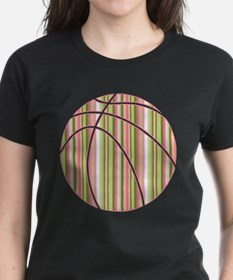 Pink and Green Striped Basketball T-Shirt