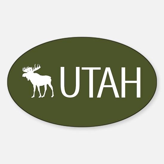 Utah: Moose (Mountain Green) Sticker (Oval)