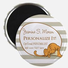 Cat and Stripes Personalize Monogrammed Magnet