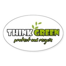 Think Green 3 Oval Decal
