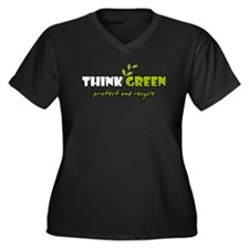 Think Green 3 Women's Plus Size V-Neck Dark T-Shir