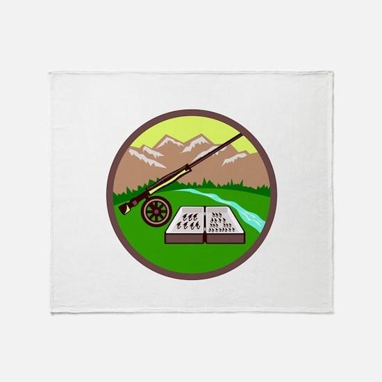 Fly Box Rod Mountains Circle Retro Throw Blanket