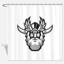 Norse God Odin Head Retro Shower Curtain