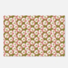 Pink Daisies on a Green Background Postcards (Pack