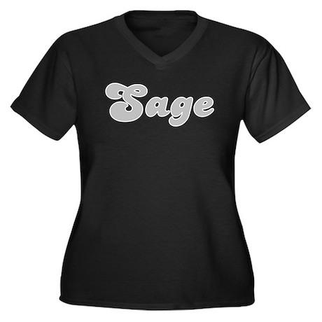 Sage Fancy (Silver) Women's Plus Size V-Neck Dark