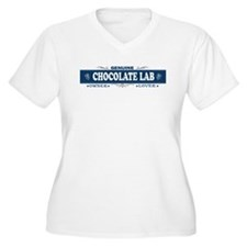 CHOCOLATE LAB Womes Plus-Size V-Neck T-Shirt