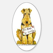 Airedale Terrier Bark for Food Oval Decal