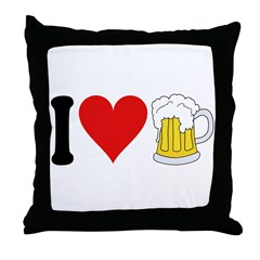 I Love Beer (design) Throw Pillow