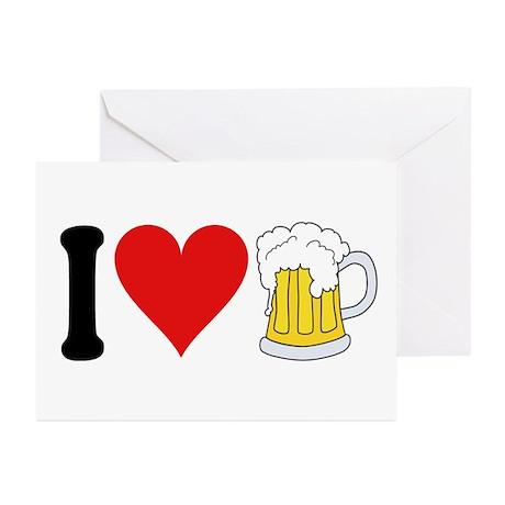 I Love Beer (design) Greeting Cards (Pk of 10)