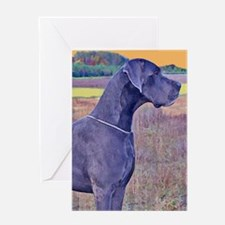 Great Dane Blue Art Scene Greeting Card