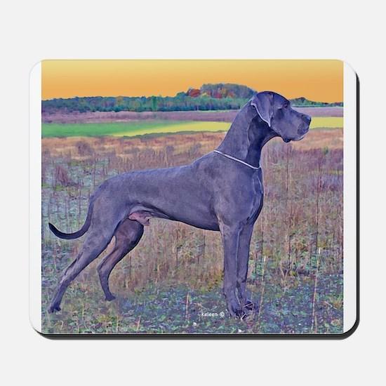 Great Dane Blue Art Scene Mousepad