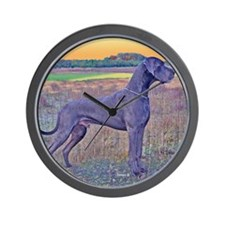 Great Dane Blue Art Scene Wall Clock