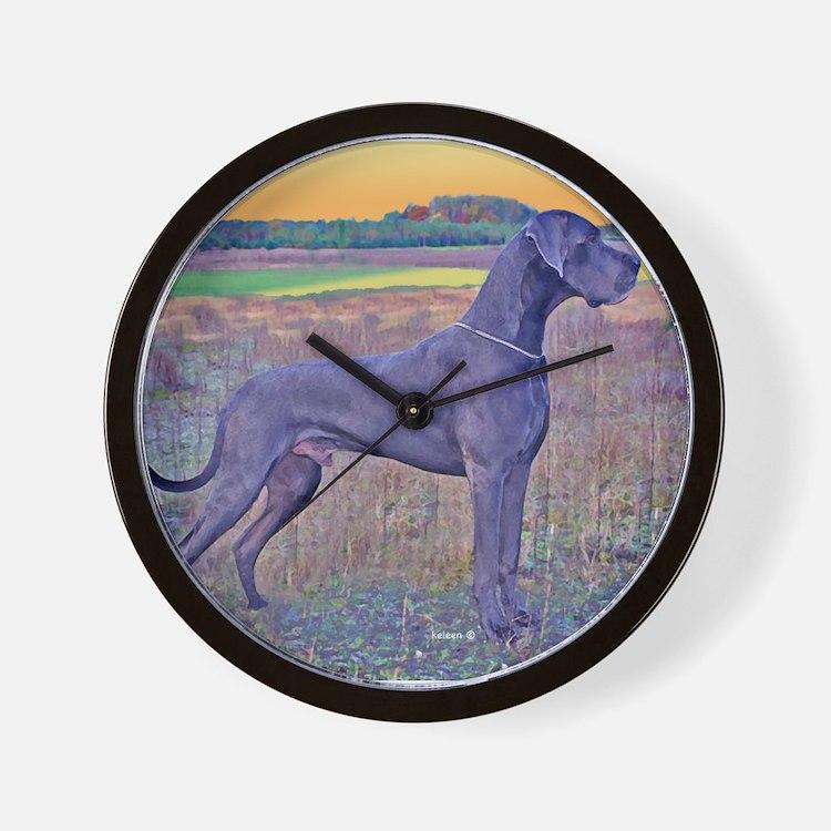 Great Dane Blue Art Scene Wall Clock
