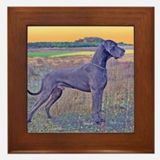 Great Dane Blue Art Scene Framed Tile