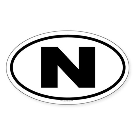 N Oval Sticker