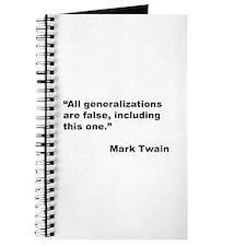Mark Twain Quote on False Generalizations Journal