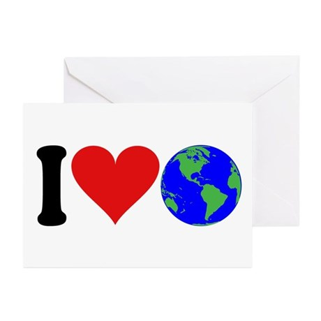 I Love Earth (design) Greeting Cards (Pk of 10)