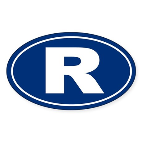 R Oval Sticker