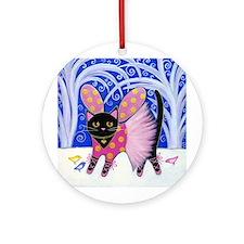 Black Sugar Plum Fairy CAT Ornament (Round)
