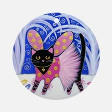 Black Sugar Plum Fairy CAT Ornament (Round)