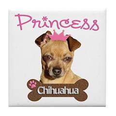 Pink Princess Chihuahua Tile Coaster