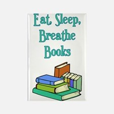 Eat Sleep Breathe Books Rectangle Magnet