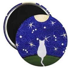 White CAT Starry Night MOON MAGNET