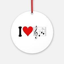 I Love Music (design) Ornament (Round)