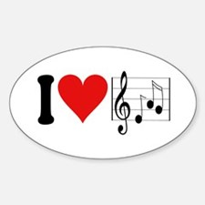 I Love Music (design) Oval Decal