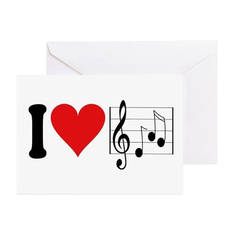 I Love Music (design) Greeting Cards (Pk of 10)