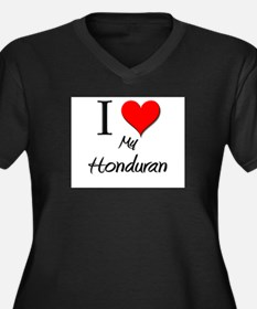 I Love My Honduran Women's Plus Size V-Neck Dark T