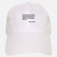 Mark Twain Quote on Trouble Baseball Baseball Cap