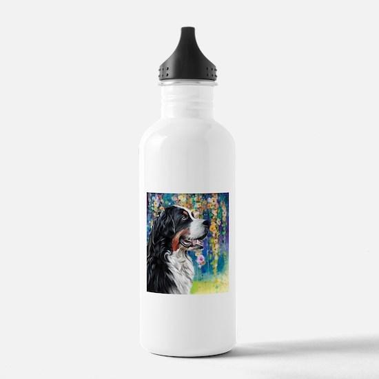 Bernese Mountain Dog Painting Water Bottle
