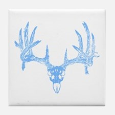 Deer skull blue Tile Coaster