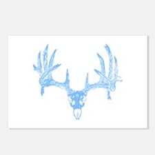 Deer skull blue Postcards (Package of 8)